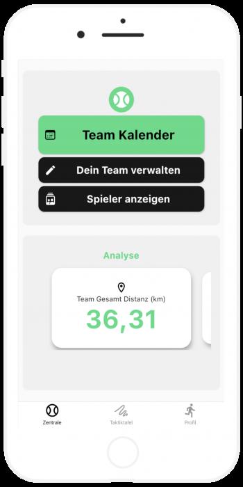 Team Management mit Kalender, Statistiken und Spielern