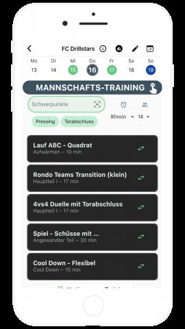 Mannschaftstraining App Tag im Kalender