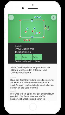 Fußball Übung 3 gegen 3 mit Torschuss