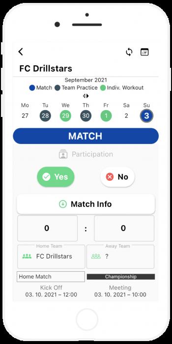 match details kick off time drillstars